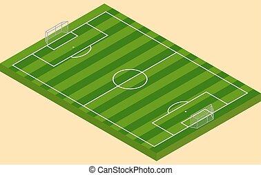 isometric, voetbal, goalposts, akker, groen gras