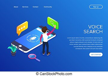 Isometric voice search concept. search for information using...