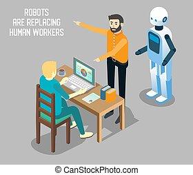 isometric, vs, robô, ilustração, trabalho, vetorial, human