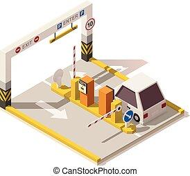 isometric, wóz, wejście, poly, wektor, niski, parking