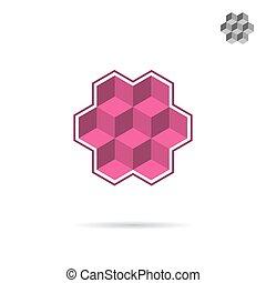 Isometric wall segment, cubic logo