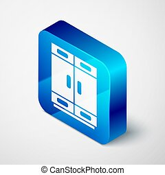 Isometric Wardrobe icon isolated on grey background. Blue square button. Vector