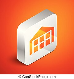 Isometric Warehouse icon isolated on orange background. Silver square button. Vector Illustration