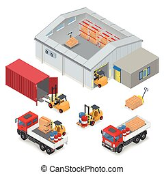 Isometric warehouse industrial scene