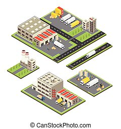 Isometric Warehouse Territories Set - Set of isometric...