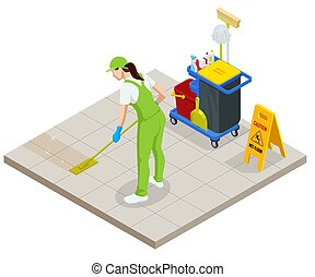 Isometric Washing and Cleaning service concept. Disinfection...