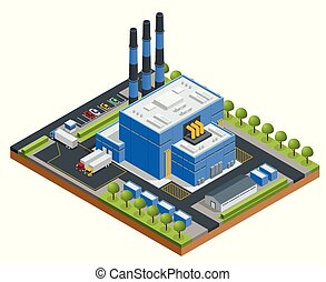 Isometric Waste Processing Plant. Technological process. ...