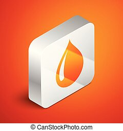 Isometric Water drop icon isolated on orange background. Silver square button. Vector Illustration