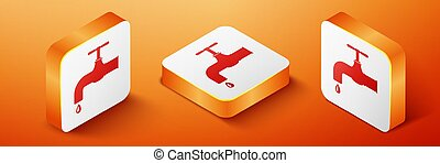 Isometric Water tap with a falling water drop icon isolated on orange background. Orange square button. Vector