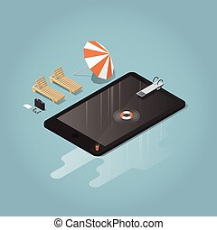 Isometric waterproof device illustration - Isometric vector...