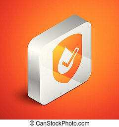 Isometric Waterproof icon isolated on orange background. Water resistant or liquid protection concept. Silver square button. Vector Illustration