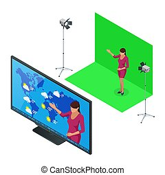 Isometric Weather forecast. A television anchorwoman at...
