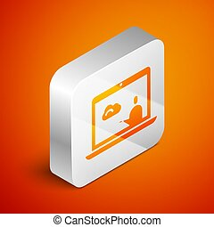 Isometric Weather forecast icon isolated on orange background. Silver square button. Vector Illustration