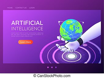 Isometric web banner ai robotic hand holding virtual digital world