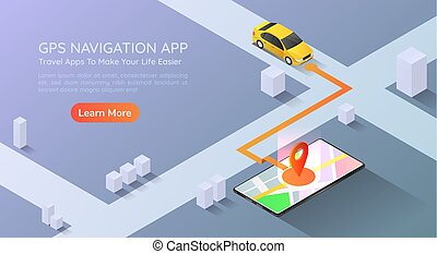 Isometric web banner car going to pin point at the gps map navigation application on smartphone