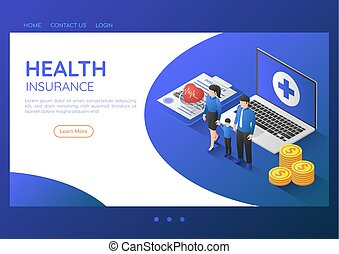 Isometric web banner family standing with stethoscope on health insurance document and laptop.