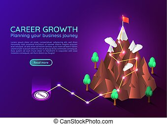 Isometric web banner mountain with business journey route to success target on the peak