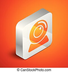 Isometric Web camera icon isolated on orange background. Chat camera. Webcam icon. Silver square button. Vector Illustration