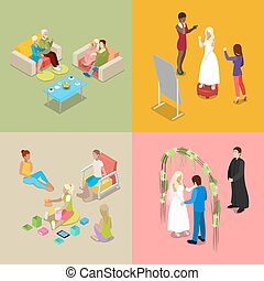 Isometric Wedding Ceremony with Bride and Groom. Vector illustration