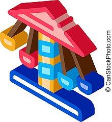 isometric, wektor, carousel, ikona, dzieci, ilustracja