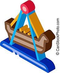 isometric, wektor, ikona, huśtać się, ilustracja, łódka