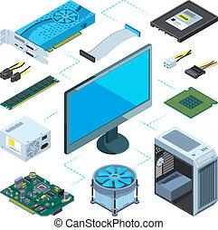 isometric, wektor, komplet, obrazy, hardware., komputer, ilustracje