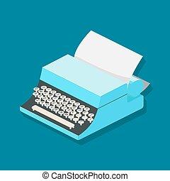 isometric, wektor, mechanik, ilustracja, maszyna do pisania