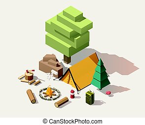 isometric, wektor, niski, poly, campsite