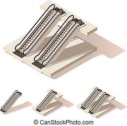 isometric, wektor, niski, poly, eskalator