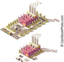 isometric, wektor, niski, poly, fabryka