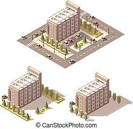 isometric, wektor, niski, poly, hotel
