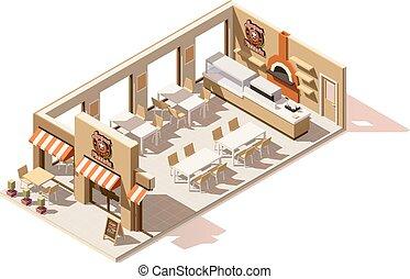 isometric, wektor, niski, poly, pizzeria
