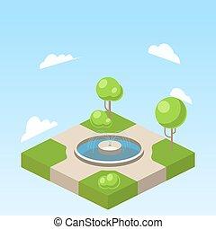 isometric, wektor, park, ilustracja