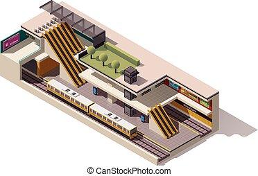 isometric, wektor, sekcja, krzyż, stacja, tunel