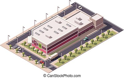 isometric, wektor, shopping mall