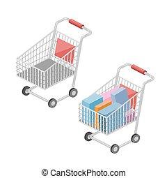 isometric, wektor, shopping wóz, ilustracja