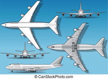 Isometric white airplane