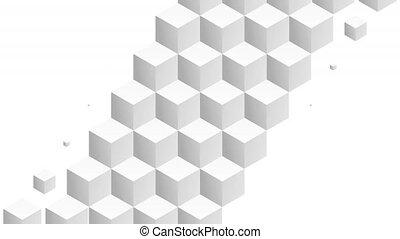 Isometric white cubes pattern diagonal transition. Including luma matte.
