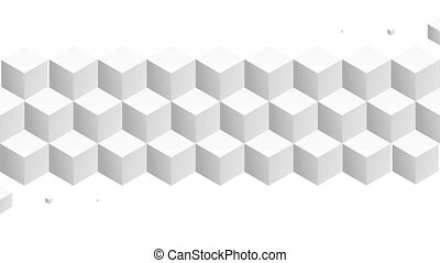Isometric white cubes pattern horizontal transition. Including luma matte.