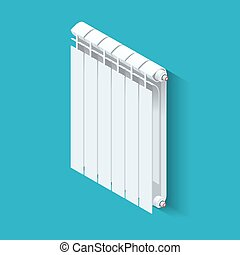Isometric white Heating Radiator. Home climate equipment icon with controls. Can be used for advertisement, infographics.