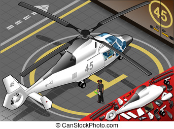 Isometric White Helicopter Landed in Rear View