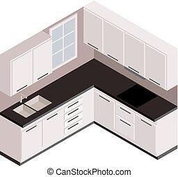 Isometric white kitchen