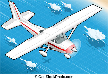 Isometric White Plane in Flight in Front View