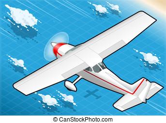 Isometric White Plane in Flight in Rear View