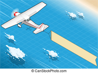 Isometric White Plane in Flight with Aerial Banner in Rear View