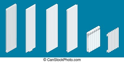 Isometric white vertical Heaters or Radiators. Home climate equipment icon with controls. Can be used for advertisement, infographics.
