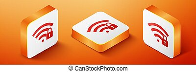 Isometric Wifi locked icon isolated on orange background. Password Wi-fi symbol. Wireless Network icon. Wifi zone. Orange square button. Vector