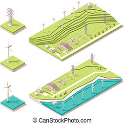 Isometric wind farm - Vector isometric map representing ...