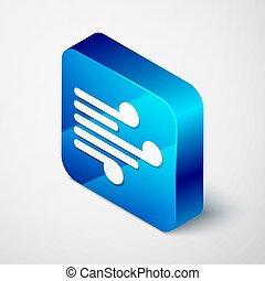 Isometric Wind icon isolated on grey background. Windy weather. Blue square button. Vector Illustration