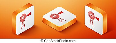 Isometric Windmill icon isolated on orange background. Orange square button. Vector